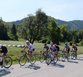 Skupina kolesarjev skupinski trening Aleksej Dolinšek trener kolesarstva