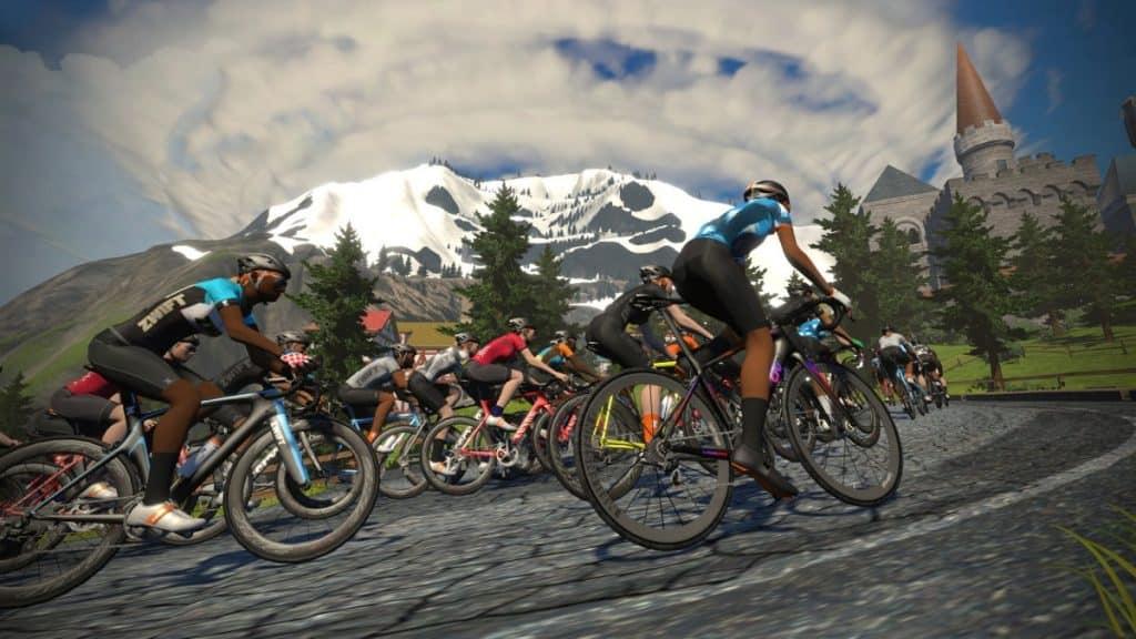 ZWIFT kolesarska simulacija vzpon v okolici Insbrucka